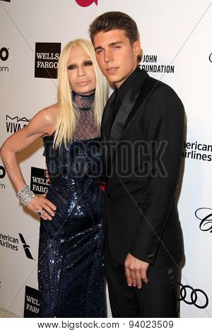 LOS ANGELES - MAR 3:  Donatella Versace, Nolan Gerard Funk at the Elton John AIDS Foundation's Oscar Viewing Party at the West Hollywood Park on March 3, 2014 in West Hollywood, CA