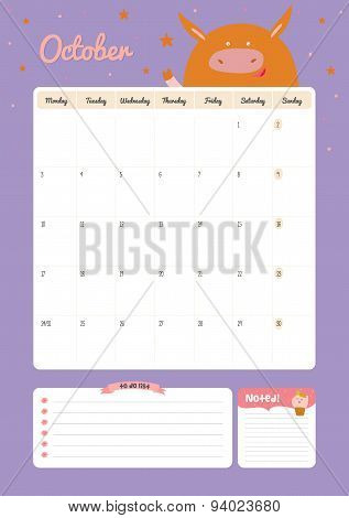 Cute calendar diary template for 2016 with animals
