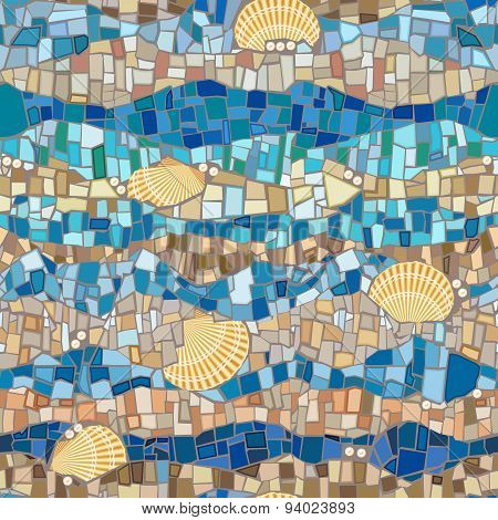 Vector seamless pattern wih shells and mosaic in vintage style