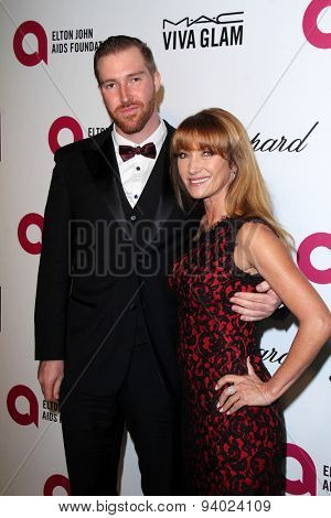 LOS ANGELES - MAR 3:  Sean Flynn, Jane Seymour at the Elton John AIDS Foundation's Oscar Viewing Party at the West Hollywood Park on March 3, 2014 in West Hollywood, CA