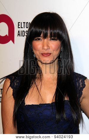 LOS ANGELES - MAR 3:  Kelly Hu at the Elton John AIDS Foundation's Oscar Viewing Party at the West Hollywood Park on March 3, 2014 in West Hollywood, CA