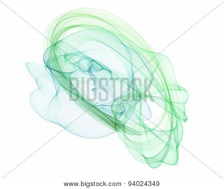 The magical form of greenish smoke. abstract Green-Blue background