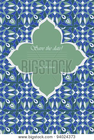 Template Color Mandala In Italian Majolica Style For Your Design Letters, Postcards, Invitations