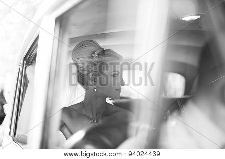 Beautiful Bride Waiting In The Car