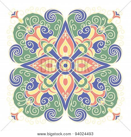 Hand Drawing Zentangle Mandala Color Element. Italian Majolica Style