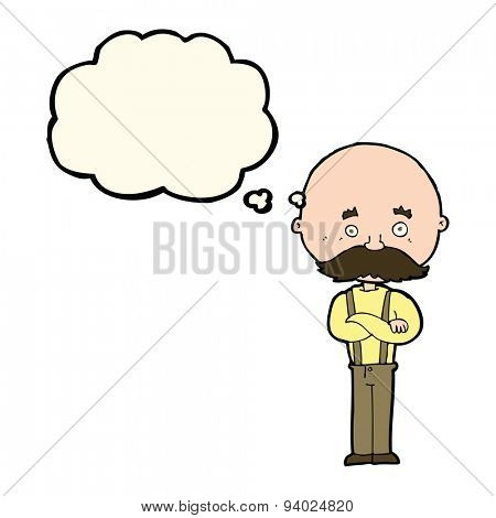 cartoon grandfather with thought bubble
