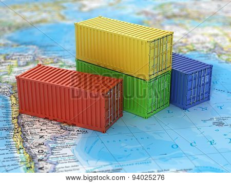 Ship Containers On The World Map. Transportation Concept.