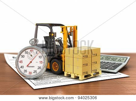 Forklift Truck With Boxes And Stopwatch. Express Delivery Concept.