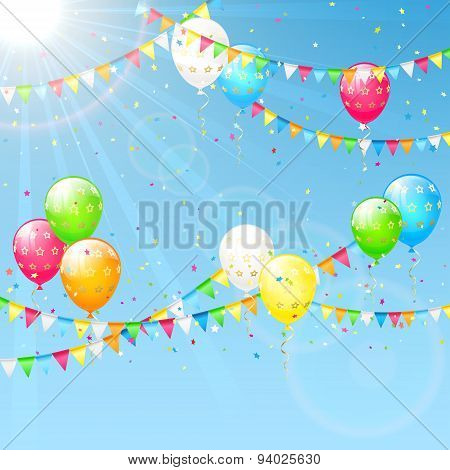 Balloons With Pennants And Sun