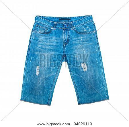 Denim Shorts On White Background