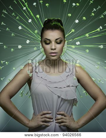 Fine art portrait of a stunning brunette beauty