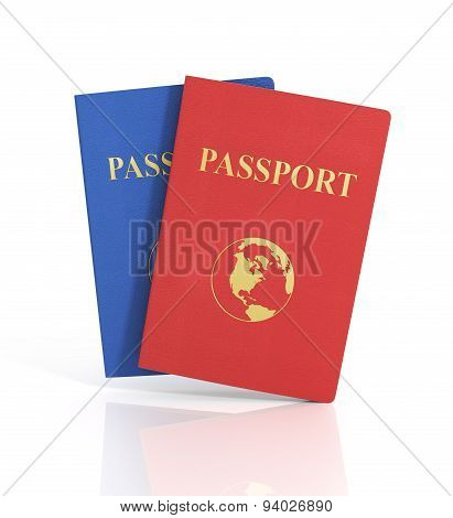 Passports With Map Isolated On White Background. Internaional.