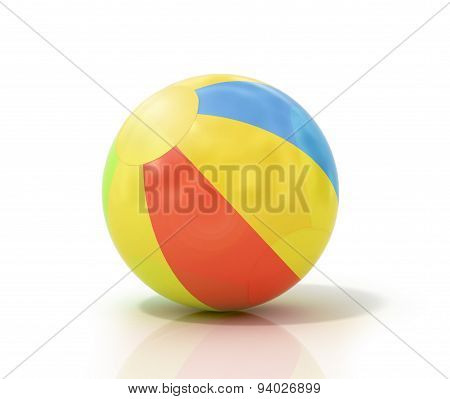 Beach Ball Isolated On A White Background As A Classic Symbol Of Summer Fun At The Pool Or Ocean Wit