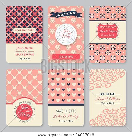 Set of perfect wedding templates with pattern theme