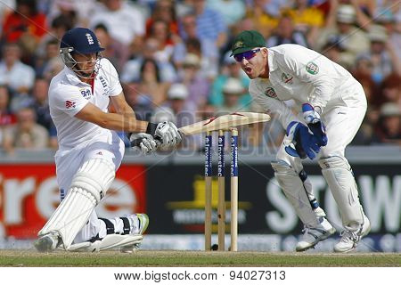 MANCHESTER, ENGLAND - August 03 2013: Jonny Bairstow and Brad Haddin during day three of  the Investec Ashes 3rd test match at Old Trafford Cricket Ground, on August 03, 2013 in London, England.