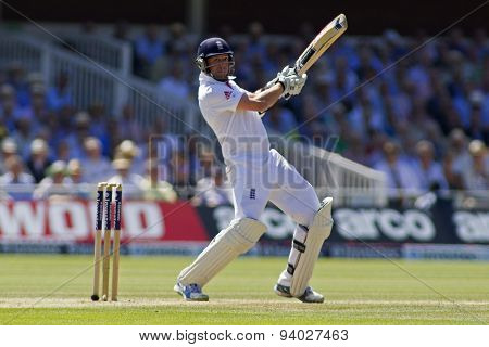 LONDON, ENGLAND - July 19 2013: Graeme Swann plays a shot during day two of the Investec Ashes 2nd test match, at Lords Cricket Ground on July 19, 2013 in London, England.
