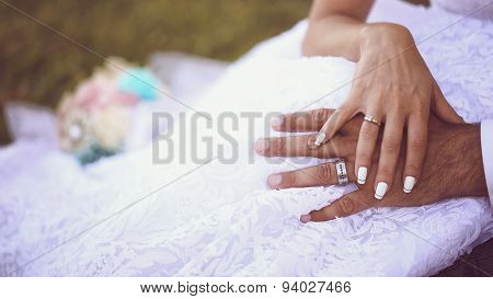 Hands Of A Bride And Groom Wearing Wedding Rings