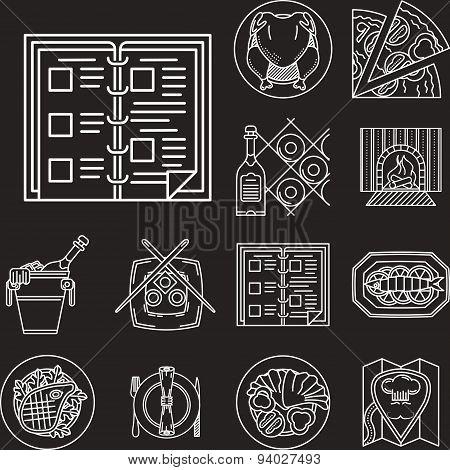 Restaurant menu white line vector icons