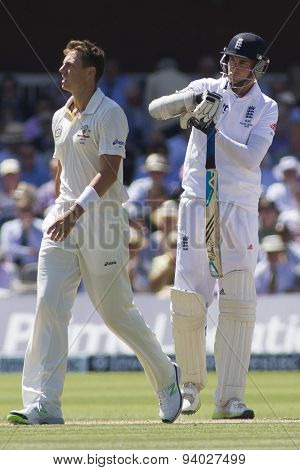 LONDON, ENGLAND - July 19 2013: Stuart Broad calls for an umpire review after being dismissed by James Pattinson during day two of the Investec Ashes 2nd test match, at Lords Cricket Ground