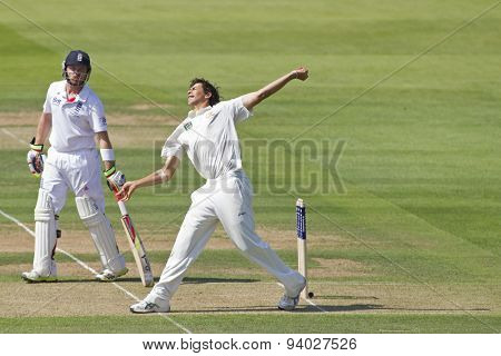 LONDON, ENGLAND - July 18 2013: Ian Bell and Ashton Agar on day one of the Investec Ashes 2nd test match, at Lords Cricket Ground on July 18, 2013 in London, England.