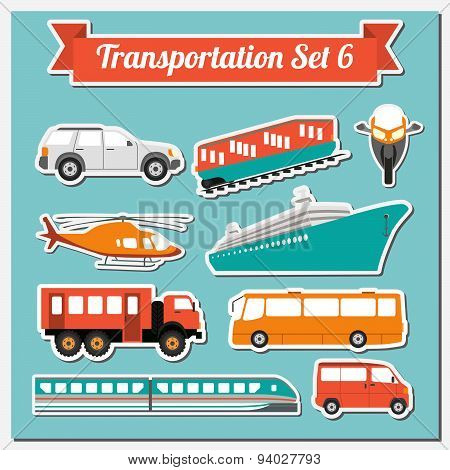 Set of all types of transport icon
