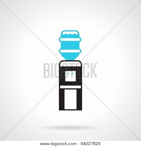 Black water dispenser flat vector icon
