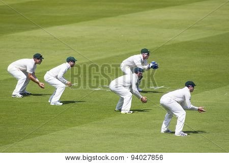 LONDON, ENGLAND - July 18 2013: The Australian slip fielding cordon on day one of the Investec Ashes 2nd test match, at Lords Cricket Ground on July 18, 2013 in London, England.