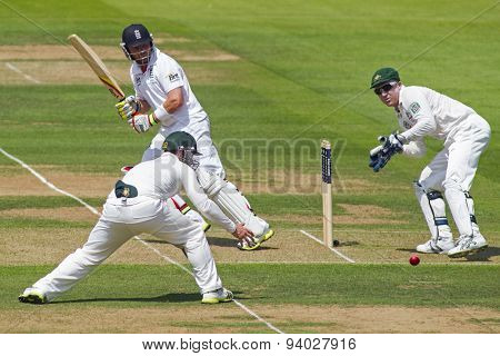 LONDON, ENGLAND - July 18 2013: Phillip Hughes, Ian Bell and Brad Haddin on day one of the Investec Ashes 2nd test match, at Lords Cricket Ground on July 18, 2013 in London, England.