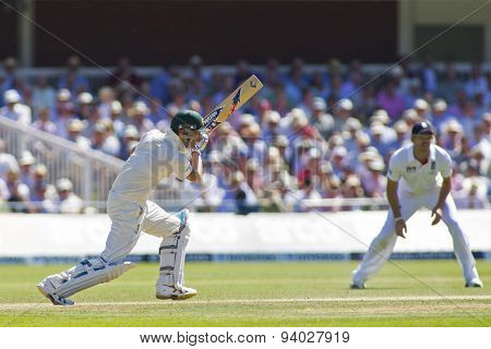 LONDON, ENGLAND - July 19 2013: Michael Clarke and James Andersonk during day two of the Investec Ashes 2nd test match, at Lords Cricket Ground on July 19, 2013 in London, England.