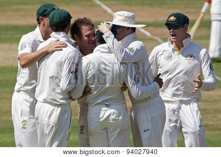LONDON, ENGLAND - July 18 2013: Australia celebrates the wicket of Jonathan Trott on day one of the Investec Ashes 2nd test match, at Lords Cricket Ground on July 18, 2013 in London, England.