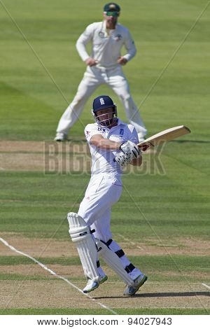 LONDON, ENGLAND - July 18 2013: Jonny Bairstow plays a shot on day one of the Investec Ashes 2nd test match, at Lords Cricket Ground on July 18, 2013 in London, England.