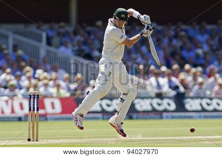 LONDON, ENGLAND - July 19 2013: Shane Watson plays a shot during day two of the Investec Ashes 2nd test match, at Lords Cricket Ground on July 19, 2013 in London, England.