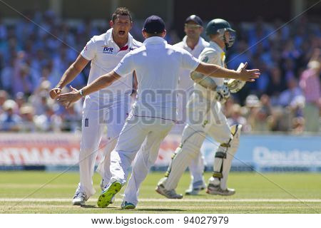 LONDON, ENGLAND - July 19 2013: Tim Bresnan celebrates taking the wicket of Shane Watson during day two of the Investec Ashes 2nd test match, at Lords Cricket Ground on July 19, 2013