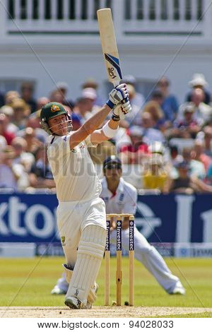 NOTTINGHAM, ENGLAND - July 14, 2013: Brad Haddin plays a shot during day five of the first Investec Ashes Test match at Trent Bridge Cricket Ground on July 14, 2013 in Nottingham, England.