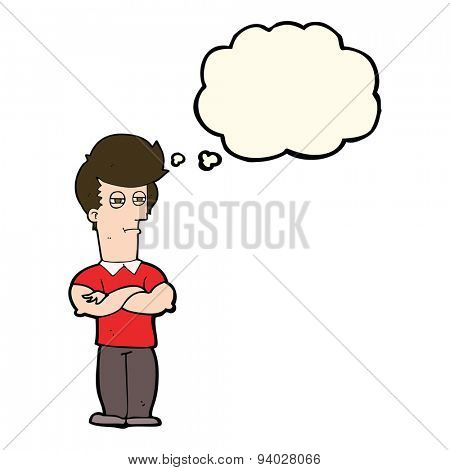 cartoon man with folded arms with thought bubble