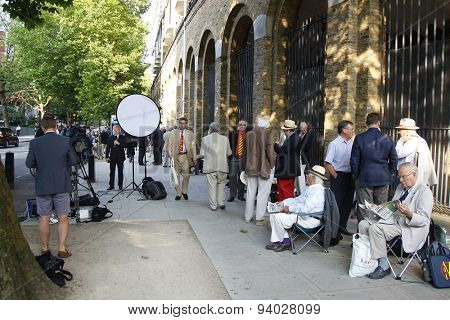 LONDON, ENGLAND - July 18 2013: MCC Members start queuing to gain access to the ground from 2am on day one of the Investec Ashes 2nd test match, at Lords Cricket Ground on July 18, 2013