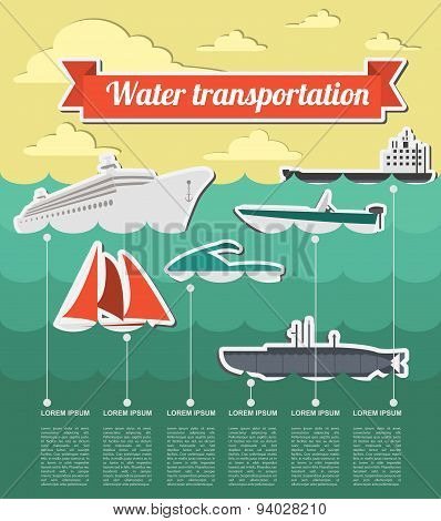 Water transport infographics elements. Nautical. Retro styled illustration
