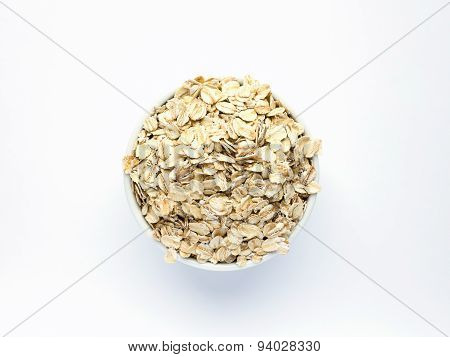 Oatmeal In White Piala On A White Background