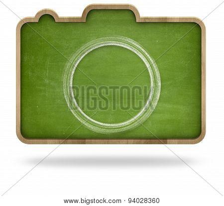 Green blank camera shape blackboard with wooden frame