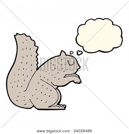 cartoon squirrel with thought bubble