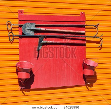 Firefighter Shield With Fire Extinguishing Tools