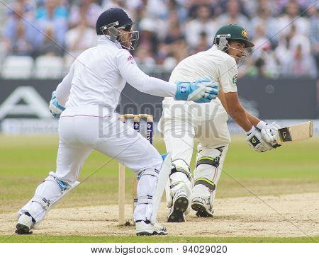 NOTTINGHAM, ENGLAND - July 14, 2013: Matt Prior and Ashton Agar during day five of the first Investec Ashes Test match at Trent Bridge Cricket Ground on July 14, 2013 in Nottingham, England.