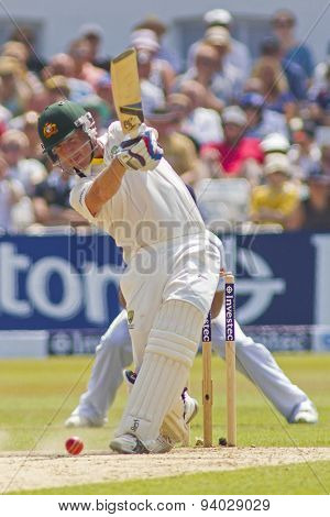NOTTINGHAM, ENGLAND - July 14, 2013: Brad Haddin during day five of the first Investec Ashes Test match at Trent Bridge Cricket Ground on July 14, 2013 in Nottingham, England.