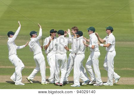 LONDON, ENGLAND - July 18 2013: Shane Watson celebrates taking the wicket of Alastair Cook on day one of the Investec Ashes 2nd test match, at Lords Cricket Ground on July 18, 2013 in London, England.