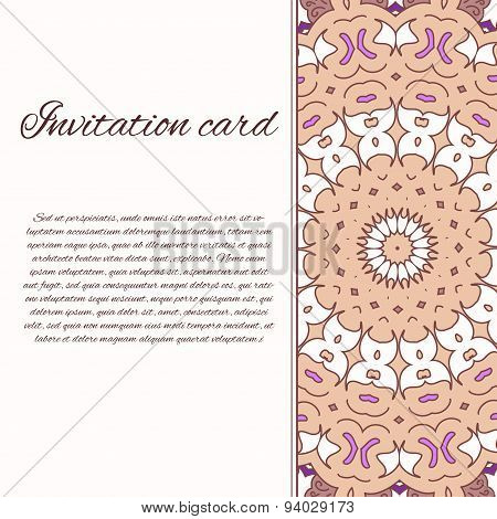 Vector Ornate Decor With Place For Text. Card For You In Retro Style. Card For Greetings, Invitation