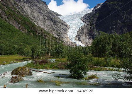 Glacier Briksdale In Norway, Europe