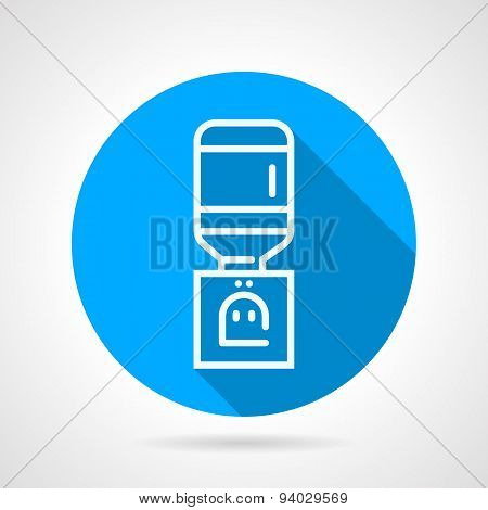 Office water dispenser blue round vector icon