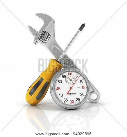 Fast Rapeir Concept. Wrench And Screwdriver With Stopwatch On The White Background.