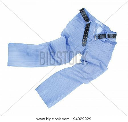 Blue Slim Male Jeans Isolated On White Background