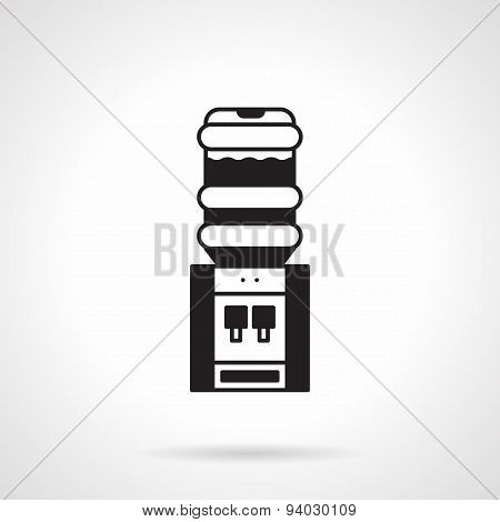 Black electric water cooler vector icon